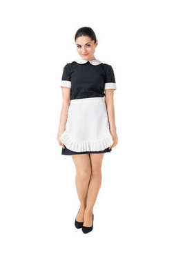 Young maid in professional uniform isolated on white