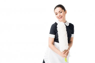 Happy maid singing in duster isolated on white