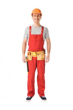 Cheerful construction worker in uniform isolated on white stock vector