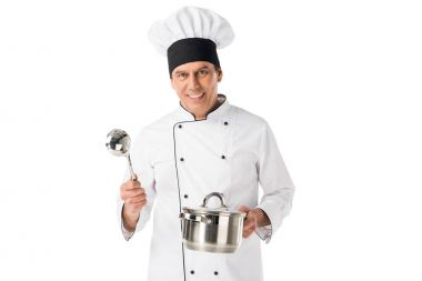 Chef in uniform and toque blanche holding pan and ladle isolated on white stock vector