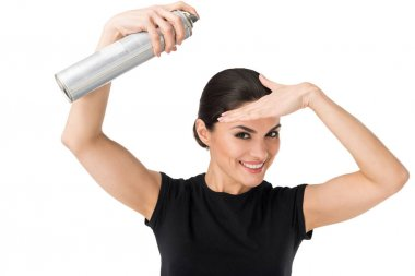 Professional hairdresser using hairspray isolated on white stock vector
