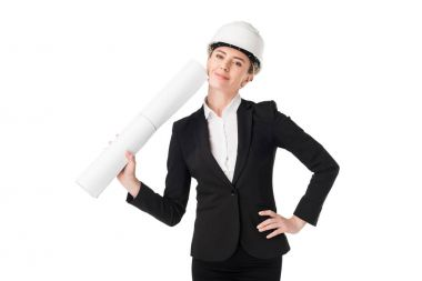 Smiling female architect in suit holding blueprint isolated on white