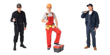 Collage with male professions policeman, builder and plumber isolated on white