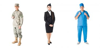Set of professions soldier, doctor and stewardess isolated on white stock vector