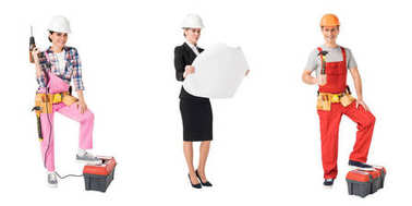 Collage with construction and repair professions workers isolated on white stock vector