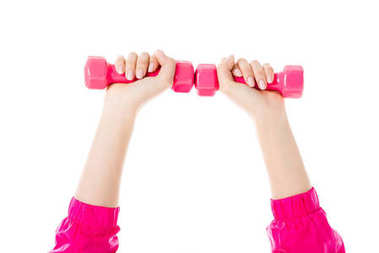 Close-up view of woman lifting pink dumbbells isolated on white