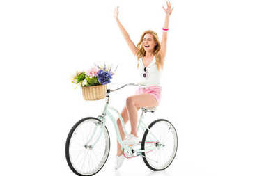 Blonde woman riding bicycle with flowers in basket isolated on white stock vector