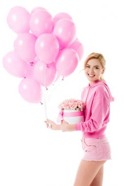Blonde woman in pink clothes holding balloons with flowers isolated on white stock vector