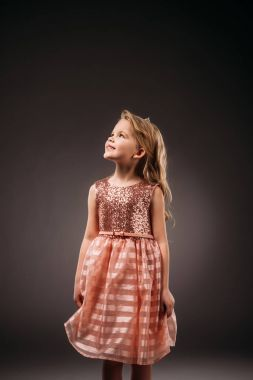 adorable kid in pink princess dress, isolated on grey
