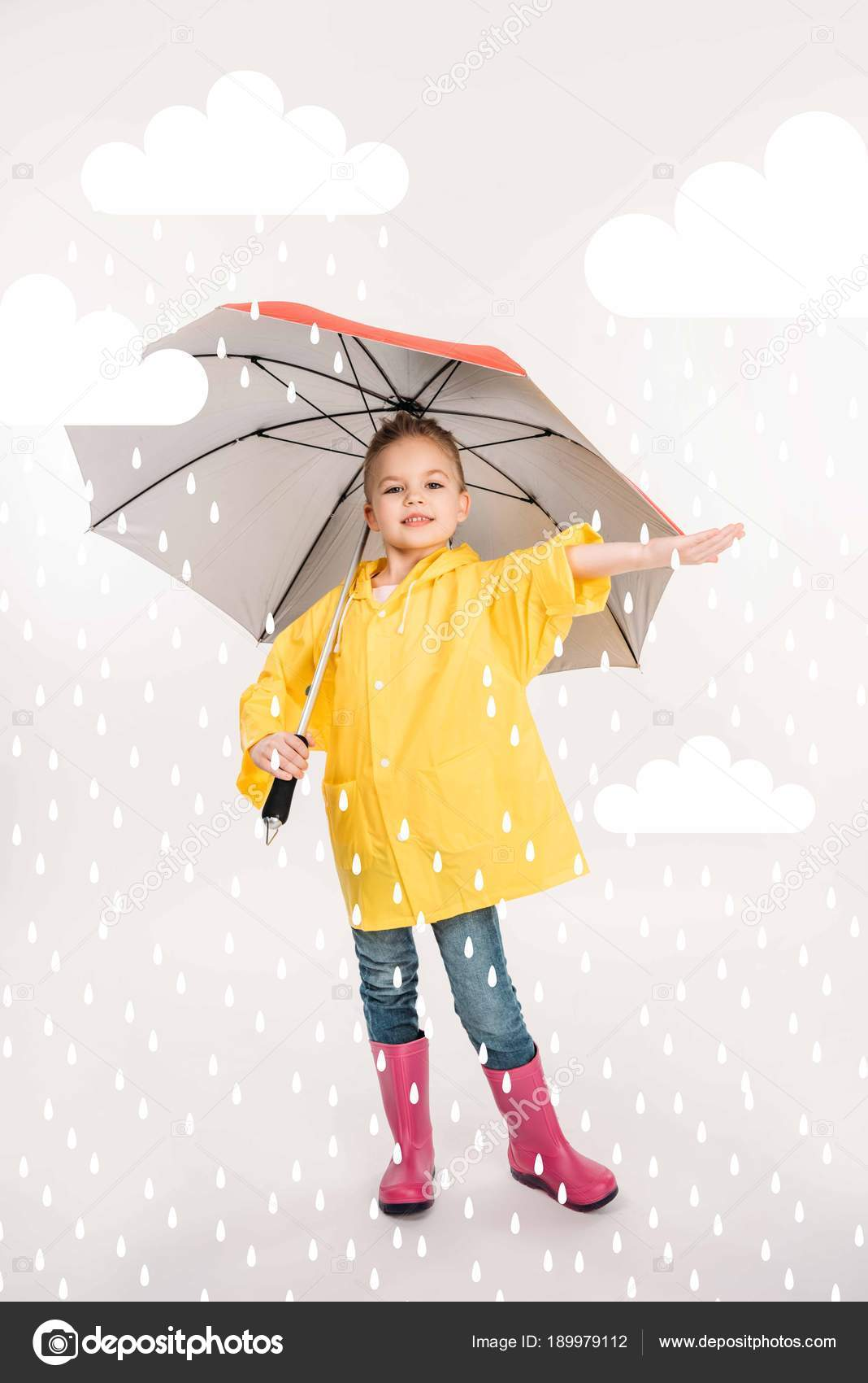 0d2857eaa Pretty Child Rubber Boots Yellow Raincoat Umbrella Rainy Weather ...