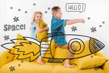 brother and sister riding drawn rocket in space while sitting on sofa at home