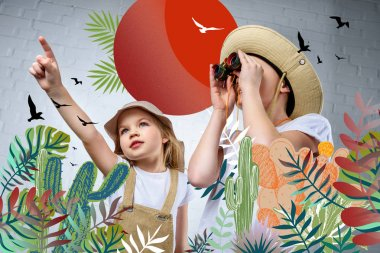 Children in safari costumes and hats pointing and looking in binoculars at birds and cactuses stock vector
