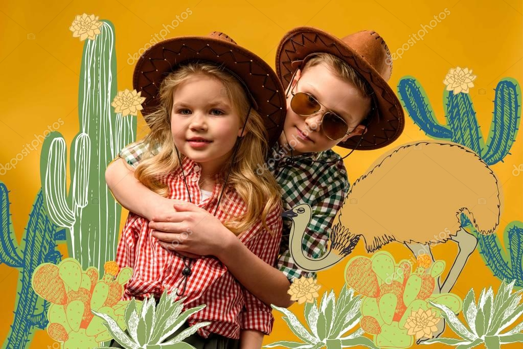 Little stylish travelers in hats hugging, on yellow with cactuses and ostrich illustration
