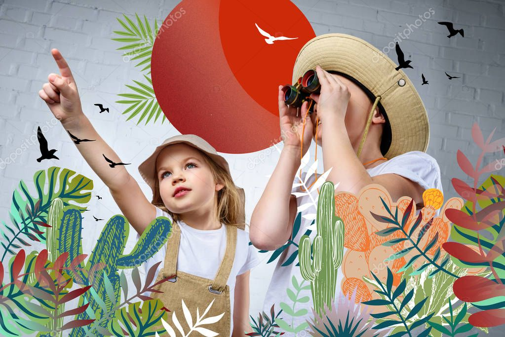 Children in safari costumes and hats pointing and looking in binoculars at birds and cactuses