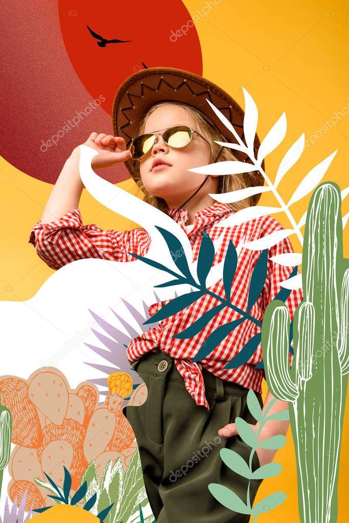 Beautiful stylish traveler on safari, isolated on yellow with cactuses and elephant illustration stock vector