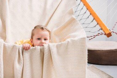 Portrait of little boy laying in rope hammock