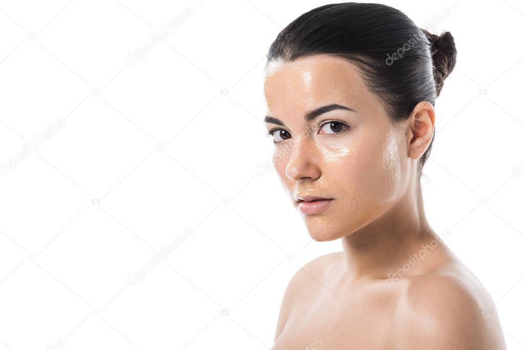 Attractive girl with honey mask looking at camera isolated on white stock vector