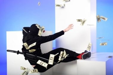 back view of ninja in black clothing catching dollar banknotes on white blocks isolated on blue