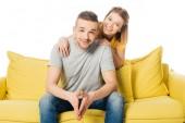Fotografie portrét šťastná manželka pÛdû manžela na měděně izolované na bílém