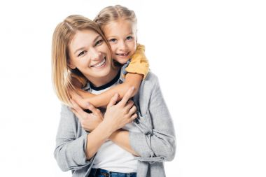 Portrait of smiling daughter hugging mother isolated on white stock vector