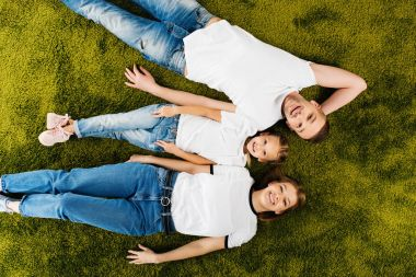 overhead view of happy family in similar clothing lying on green lawn