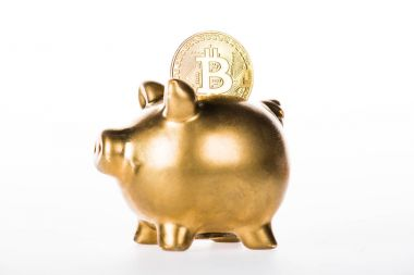close-up view of golden piggy bank and bitcoin isolated on white