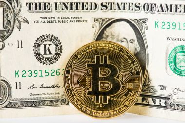 Close-up view of bitcoin and dollar banknote on white stock vector