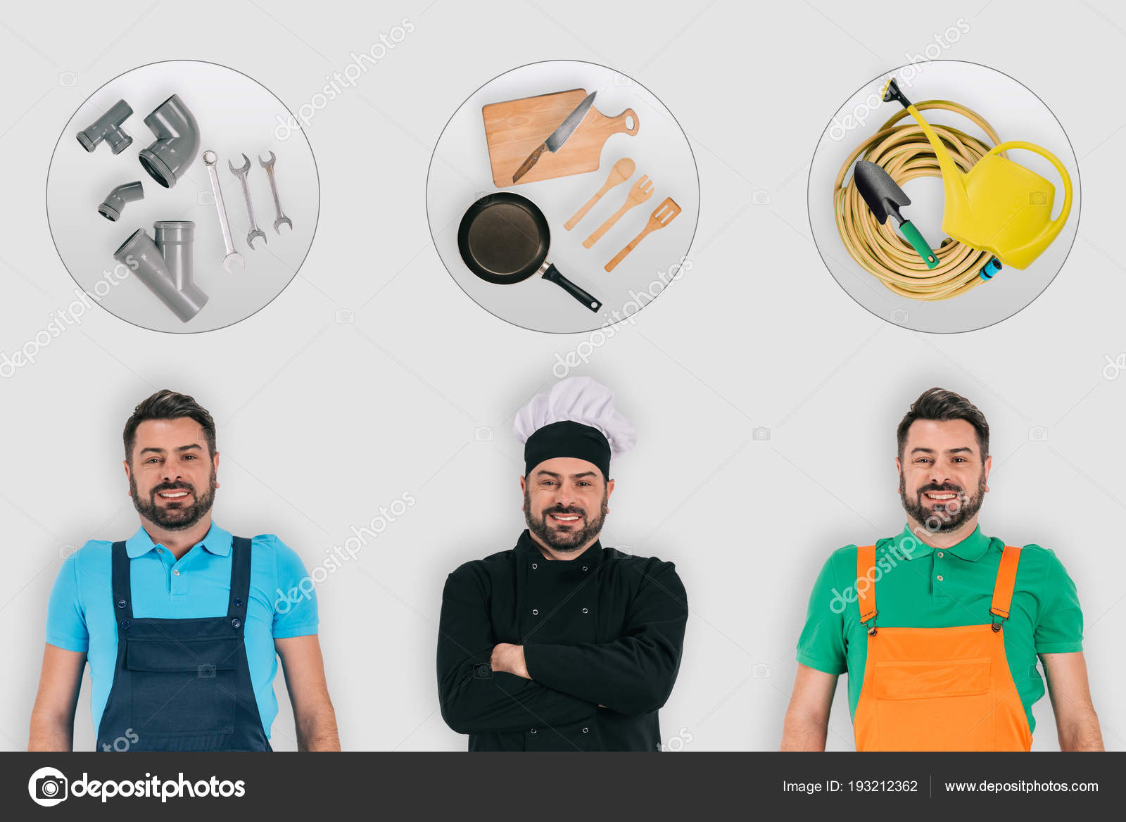 Plumber Chef Gardener Professional Equipment Occupations Concept