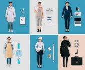 Fotografie Reihe von verschiedenen Berufen: Ärztin, Sportlerin, Reiniger, Baumeister, Geschäftsfrau und Killer mit professionellem Equipment