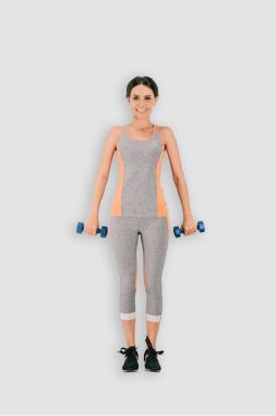 top view of sportswoman with barbells isolated on white background