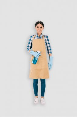 top view of female cleaner in protective gloves with spray bottle isolated on white background
