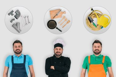 plumber, chef and gardener with professional equipment, occupations concept