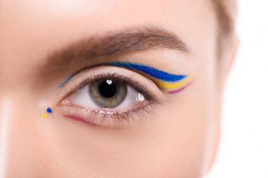 cropped image of woman with colored liner makeup isolated on white