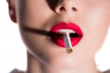 cropped image of woman smoking with cigarette on foreground isolated on white