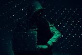 Fotografie getönten Bild der Silhouette der Hacker in Hoodie mit laptop