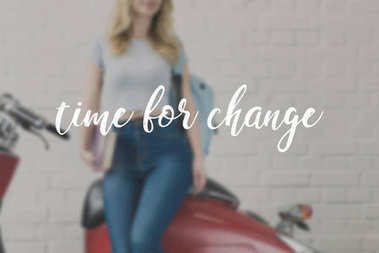 cropped shot of young student girl with vintage scooter, time for change inscription