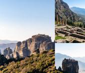 koláž ortodoxních klášterů na skalních útvarech proti modré obloze v řečtině