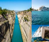 PIRAEUS, ŘECKO - 10. dubna 2020: koláž mostu u skal, výletní loď s nápisem Aidabella v blízkosti trajektu v Egejském moři