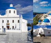SANTORINI, GREECE - APRIL 10, 2020: collage of Panagia Platsani Church with bells near white houses and horse in Santorini