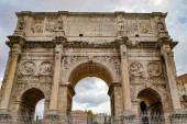 ROME, ITALY - APRIL 10, 2020: low angle view of historical arch of titus in rome