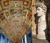 Caesar augustus fejszobor festmények mellett a falakon és mennyezeten a vatikáni múzeum térképtárában