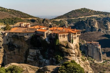 monastery of holy trinity on rock formations in meteora