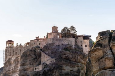 rock formations with orthodox monastery in meteora