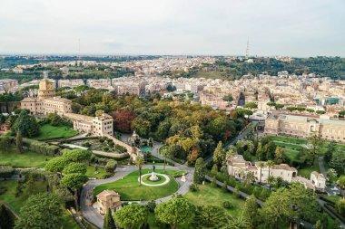 Gardens of Vatican near historical buildings in italy stock vector