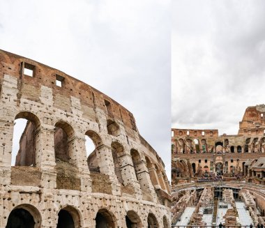 ROME, ITALY - APRIL 10, 2020: collage of historical walls of colosseum against cloudy sky stock vector
