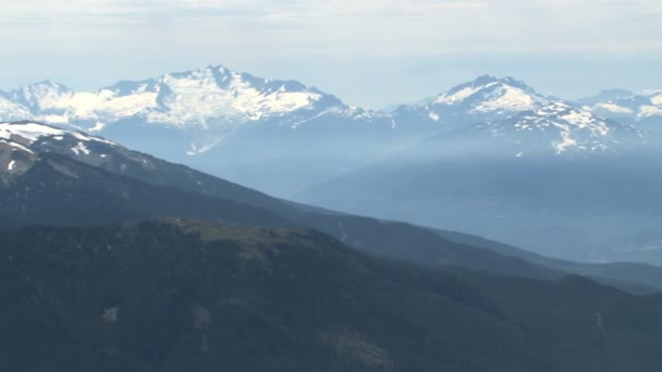 pan across snow capped mountains