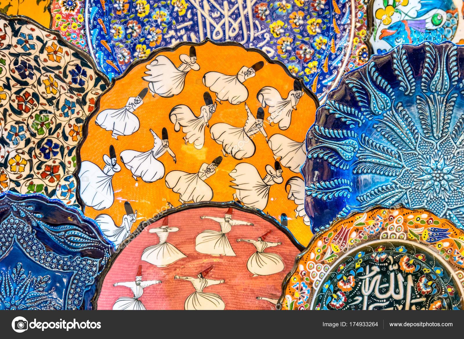 collection traditional turkish ceramics sale grand bazaar istanbul