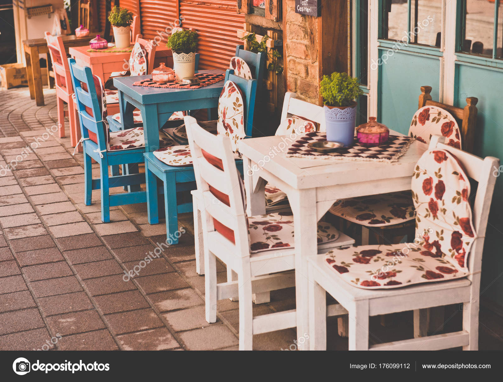 Retro Vintage View Pastel Coffee Shop Wooden Tables Chairs Balat Stock Photo Image By C Epicimages 176099112