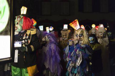 Basel carnival 2016 in Switzerland. Morgestraich parade