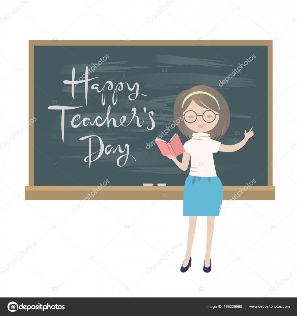 Teachers day greeting card a teacher standing at a chalkboard teachers day greeting card a teacher standing at a chalkboard stock vector m4hsunfo